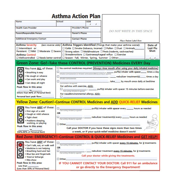 asthma care plan template
