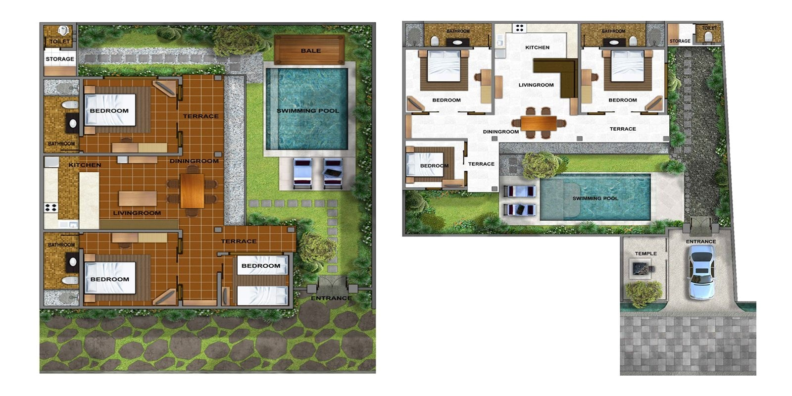 balinese house plans with warm colors