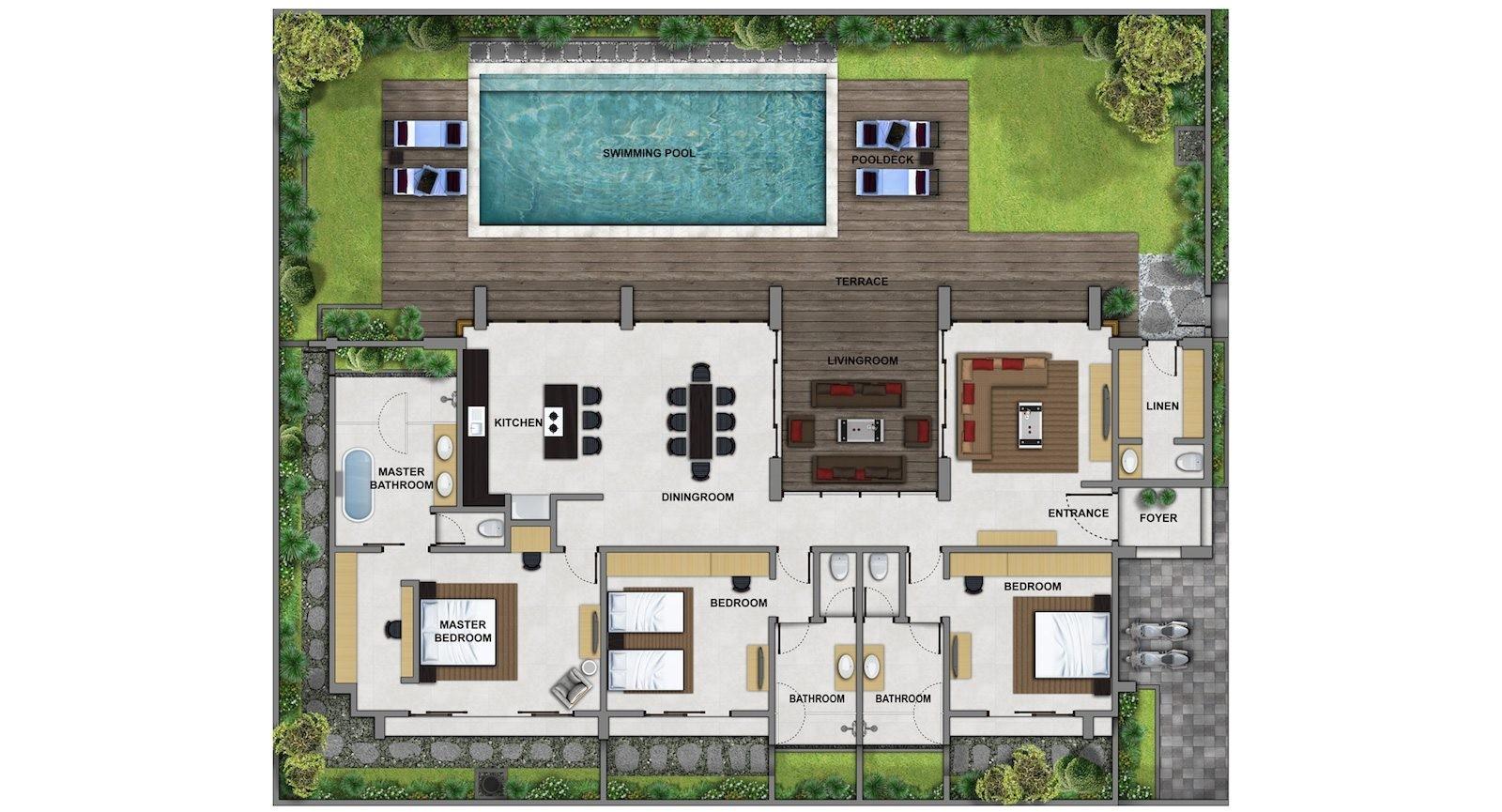 bali villa design floor plan
