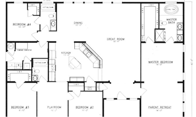 top 23 photos ideas for 4 bedroom floor plans one story