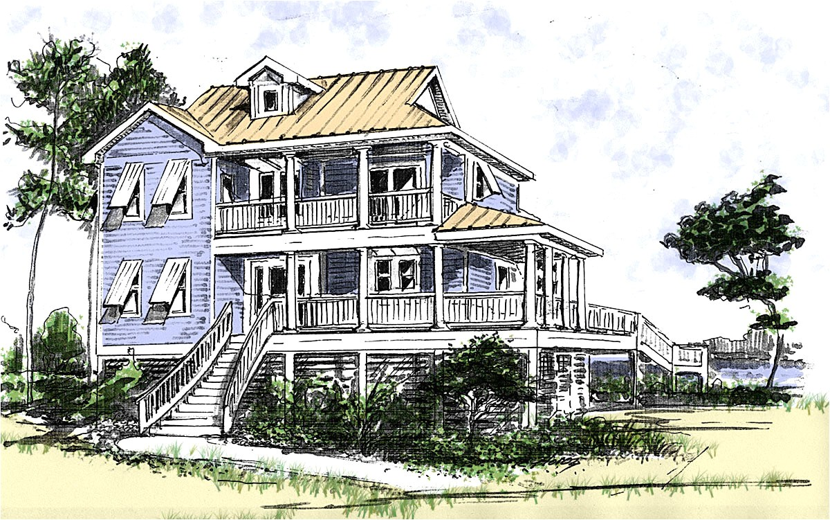 Beach Home Plans Beach House Plan with Two Story Great Room 13034fl