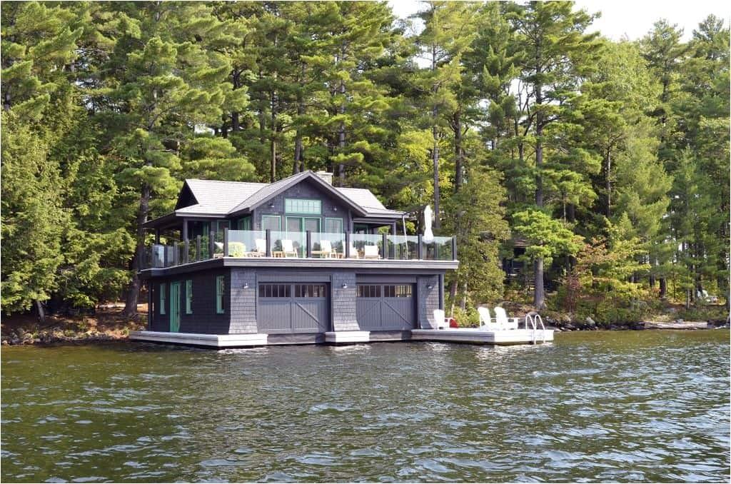 large and beautiful lake boat house design