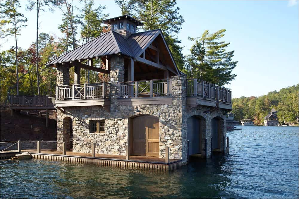 lovely rustic stone and wooden boat house design plan