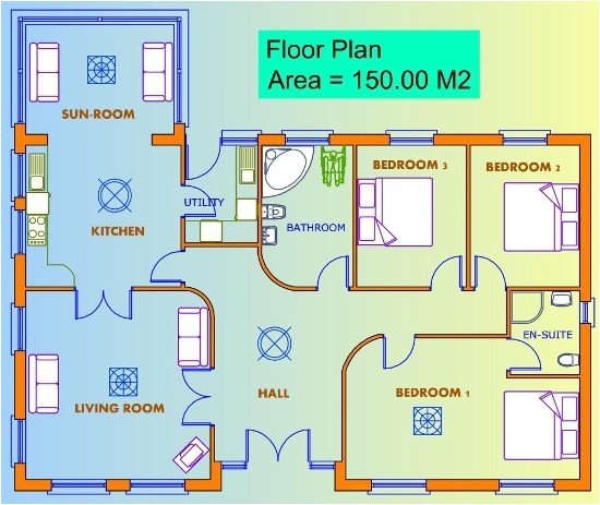 3 bedroom house floor plans uk