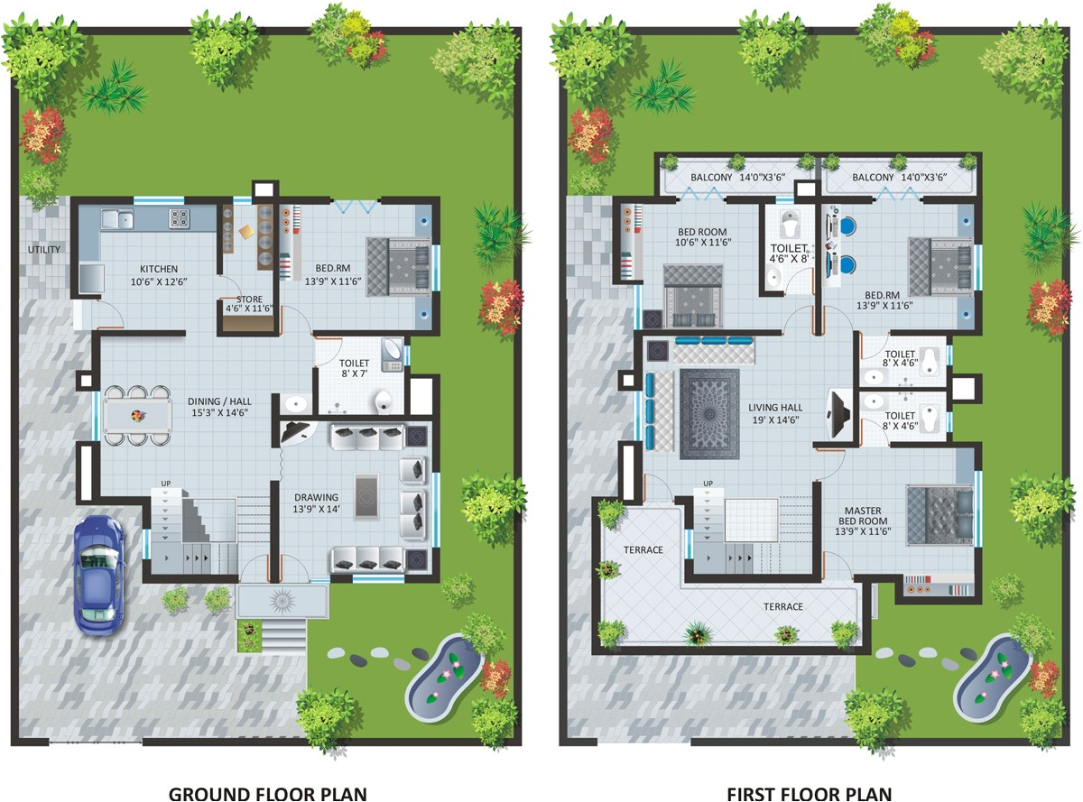 modern bungalow house design with floor plan