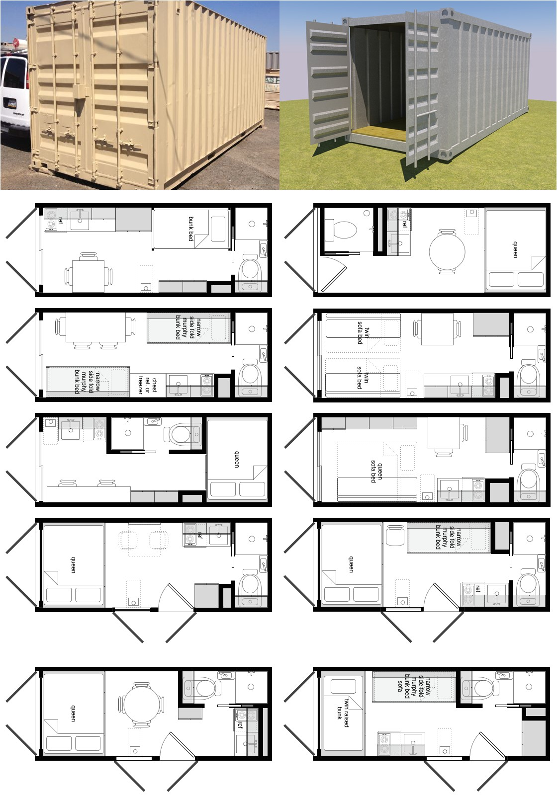 20 foot shipping container floor plan brainstorm