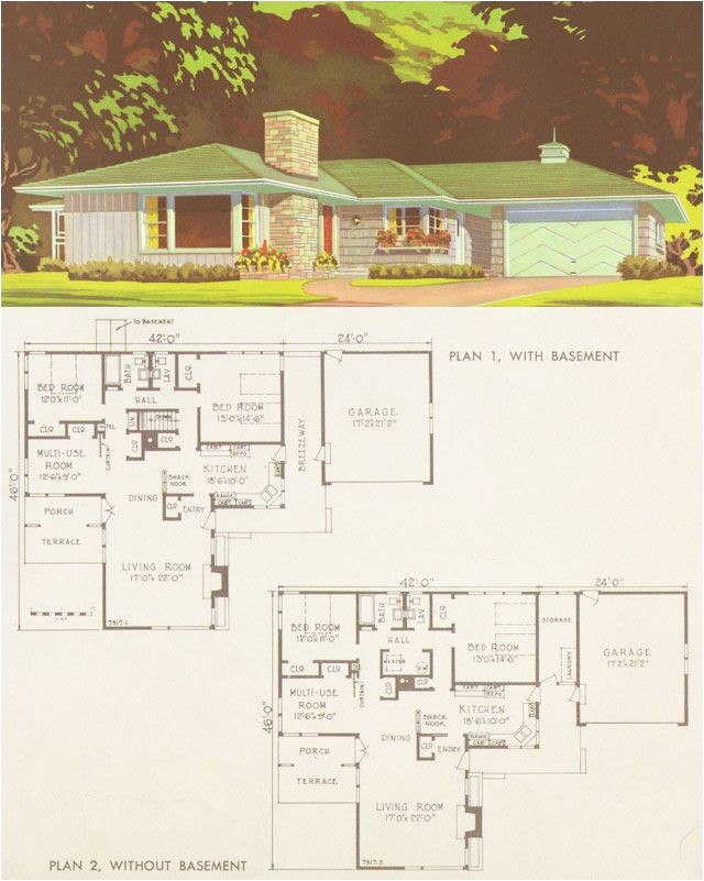 mid century ranch home plans
