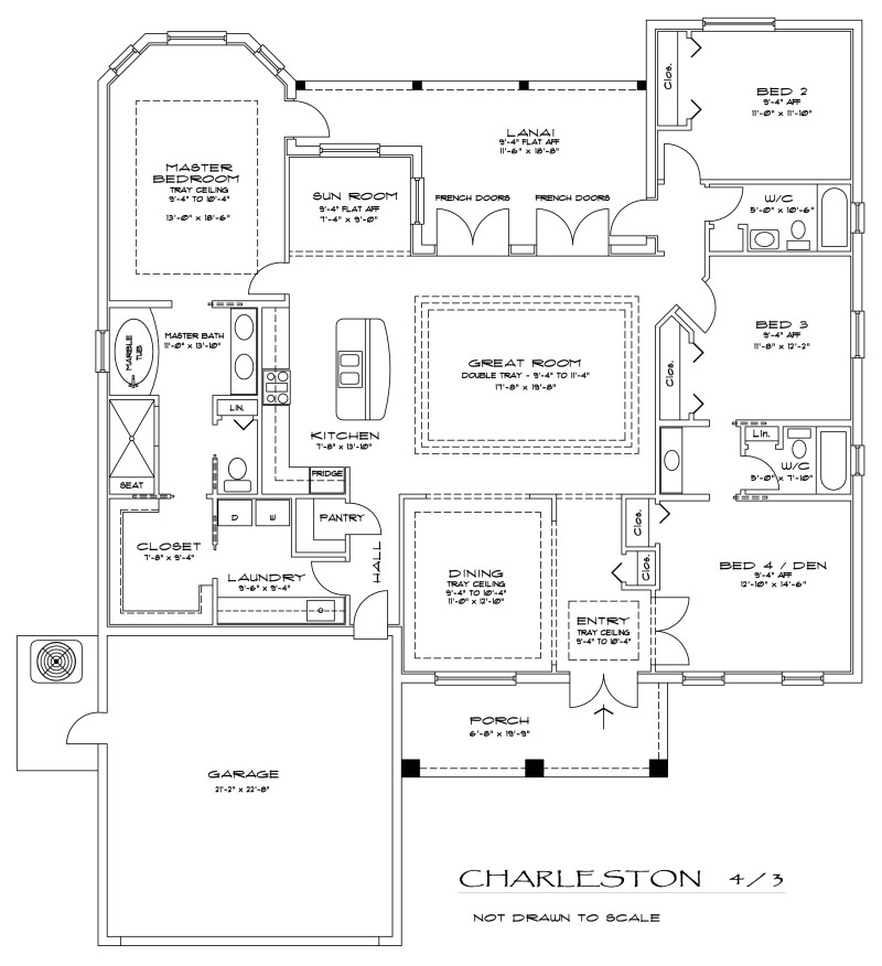 the charleston 4 bedroom 3 bathroom floorplan