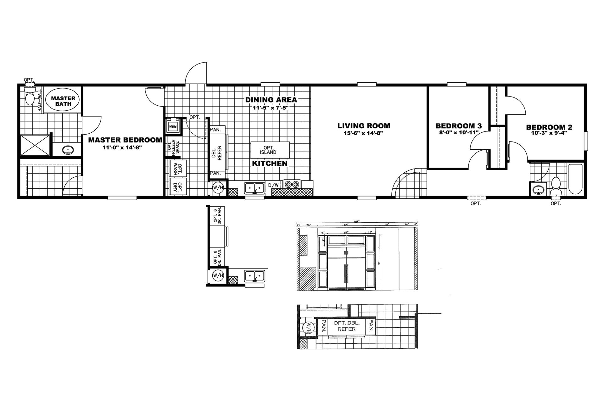 manufactured home floor plan clayton the price buster 150134 2
