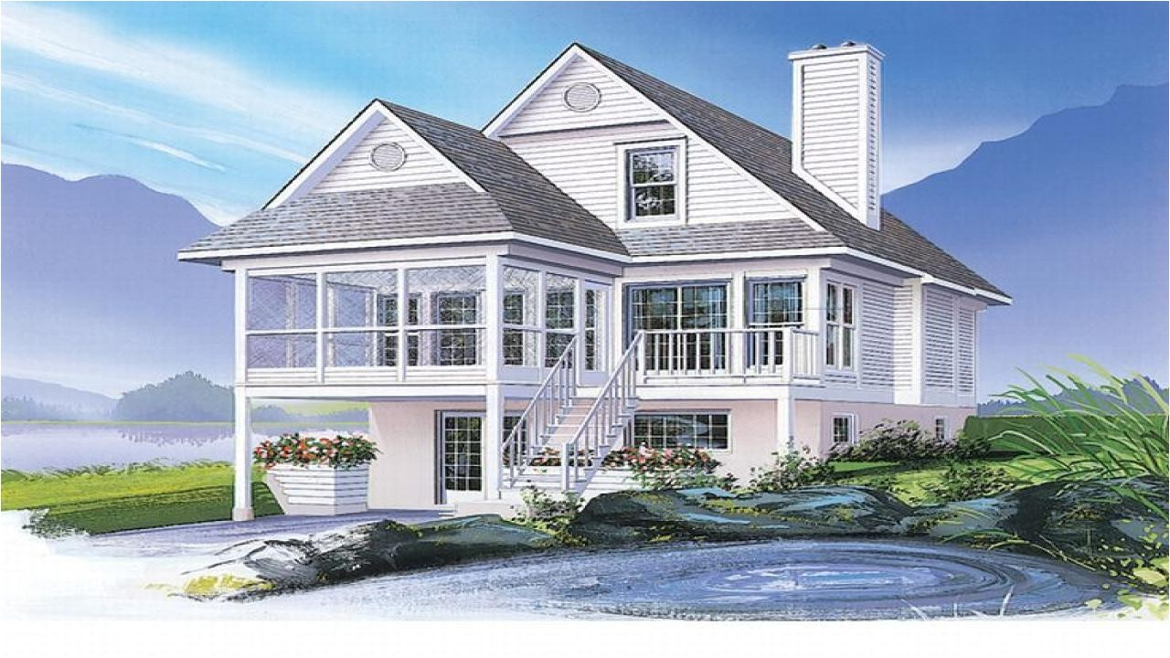 waterfront home plans narrow lot