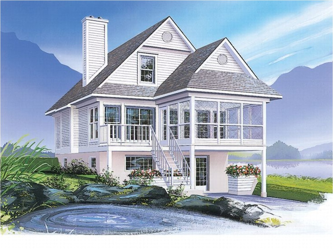 64126babd46a0ebf coastal house plans narrow lots waterfront home plans narrow