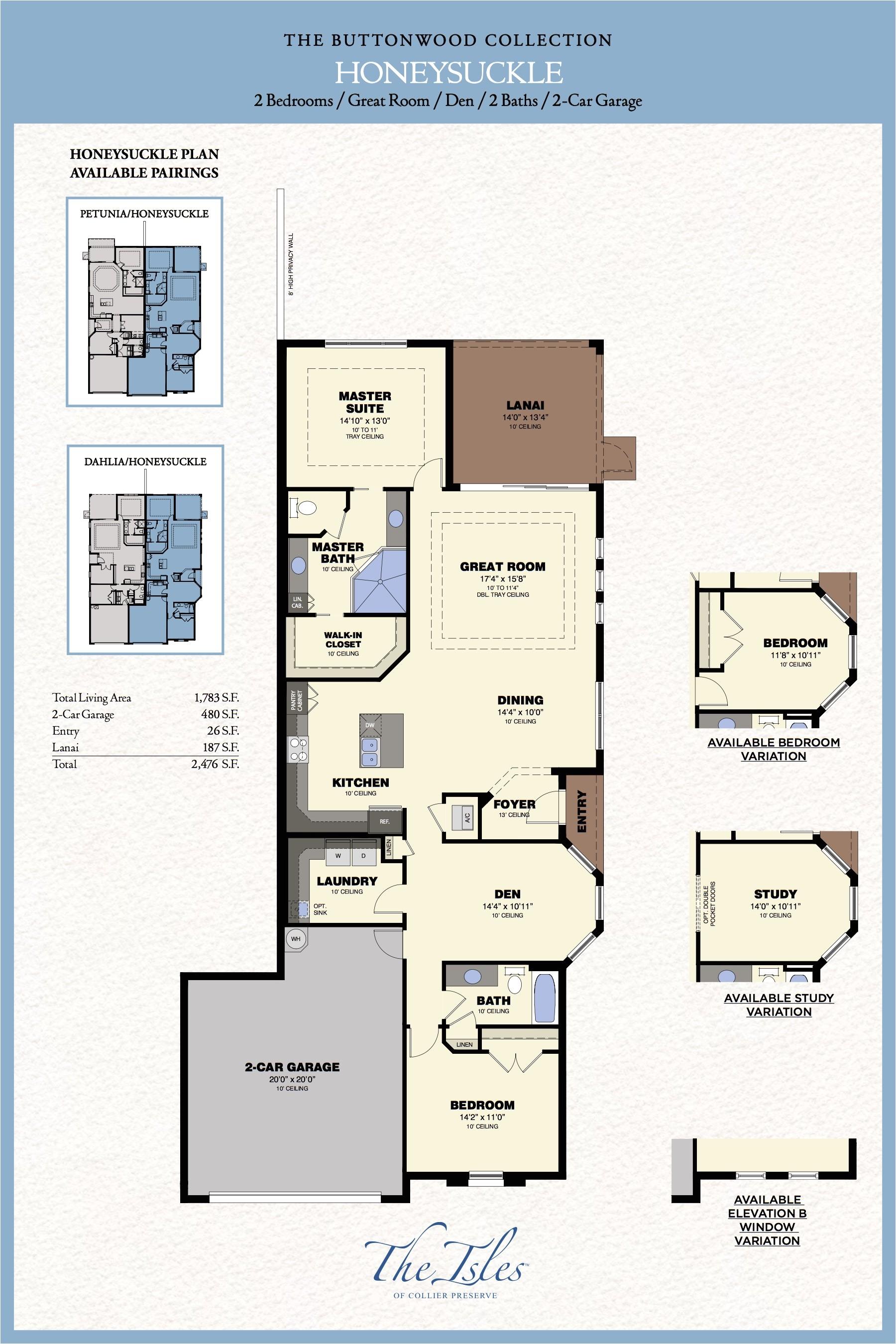 collier preserve villa floor plans