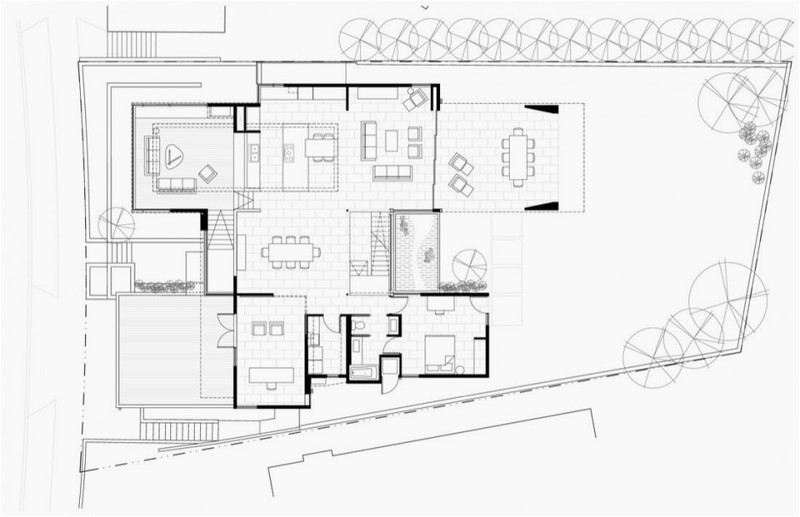 first floor plan of modern house with many open areas