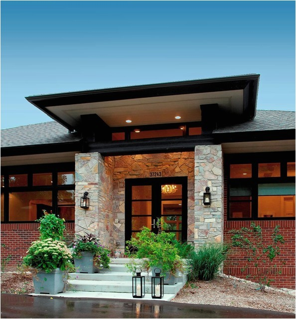 prairie style home contemporary entry detroit