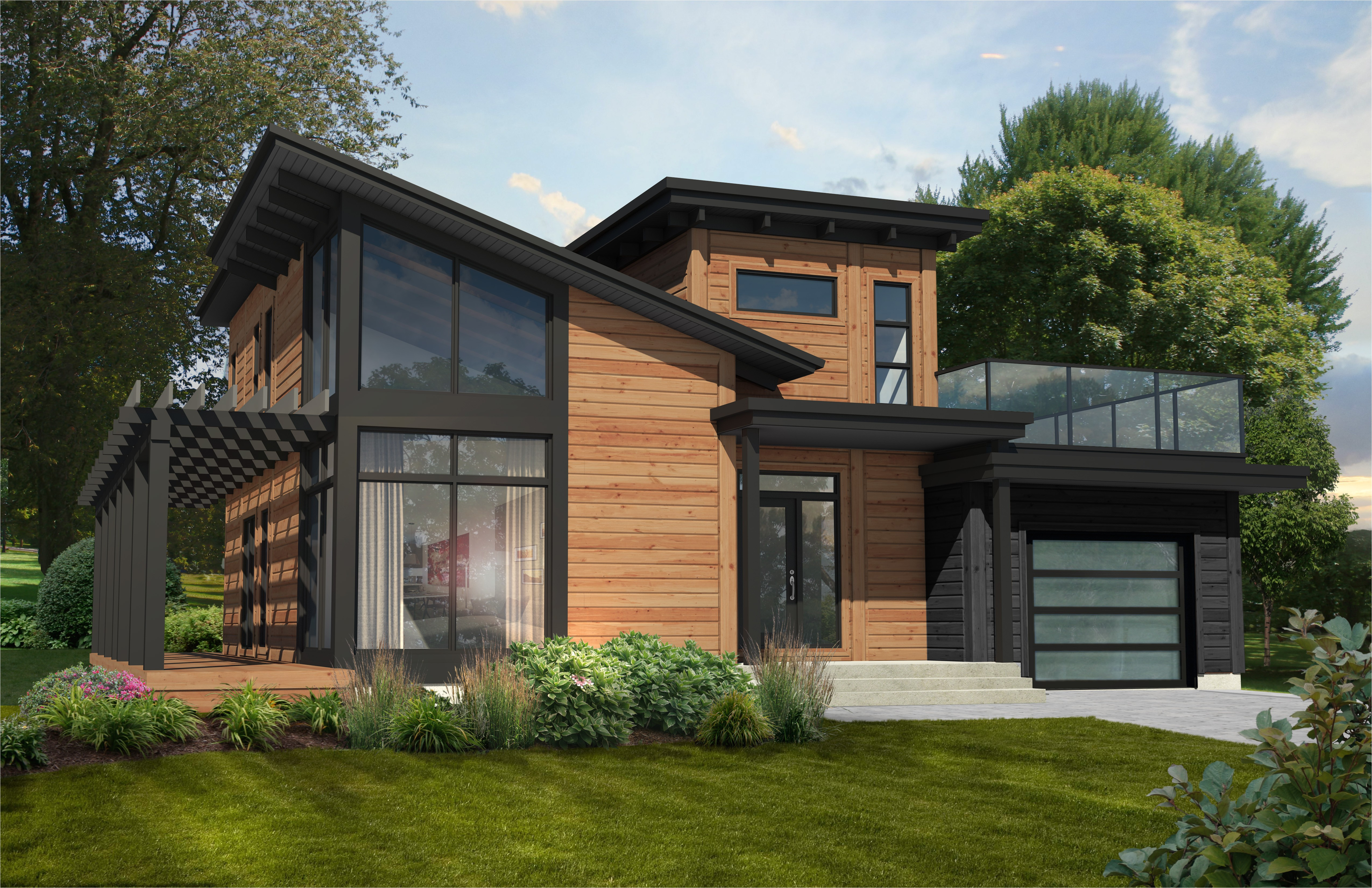 contemporary home plan timber block homes