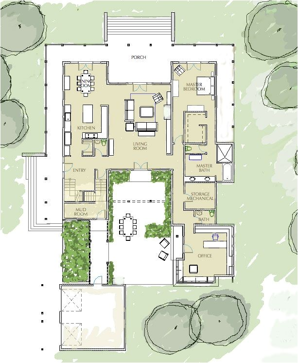 Courtyard Home Floor Plan 15 Best House Plans Images On Pinterest Courtyard House