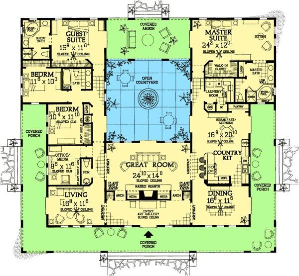 open courtyard house floorplan southwest florida spanish mediterranean house plans home designs