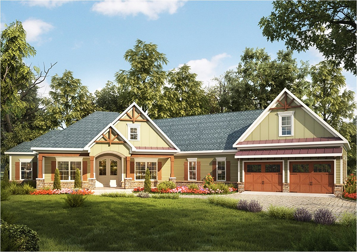 craftsman house plan with angled garage 36031dk