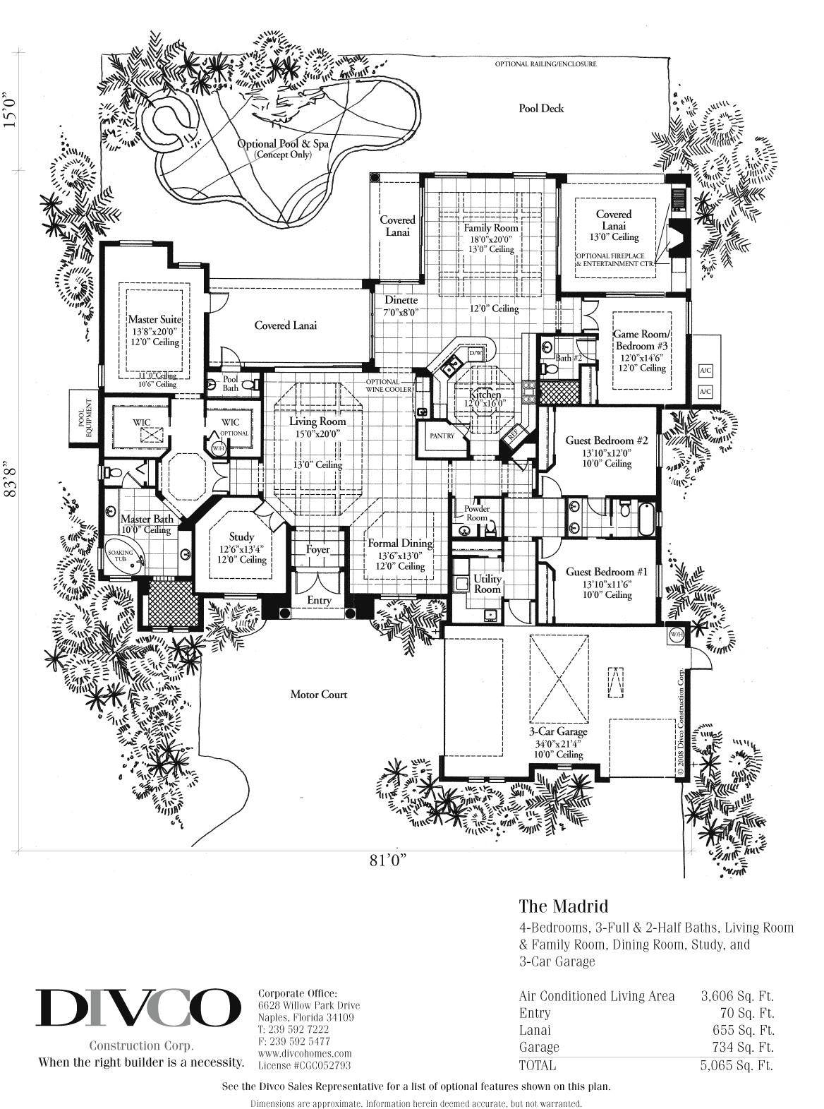 divco floor plan the madrid divco custom home builder florida