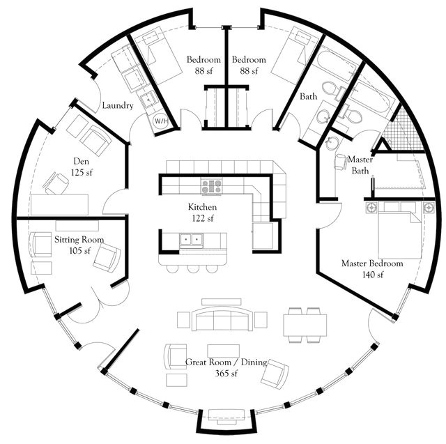 monolithic dome home floor plans m 1