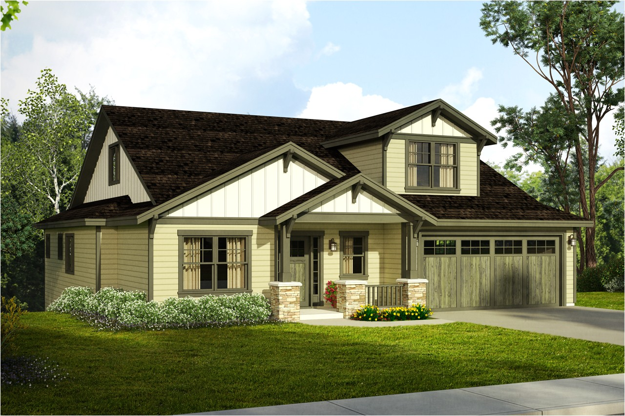 new craftsman house plan a downhill sloped lot
