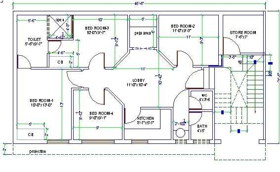 3d house design drawing 3 bedroom 2