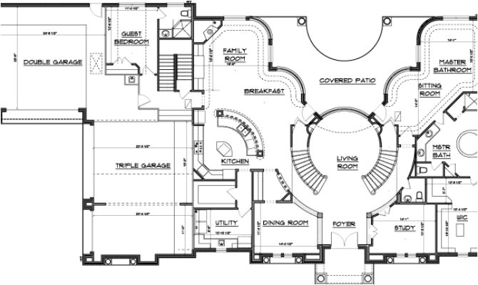 double staircase floor plans