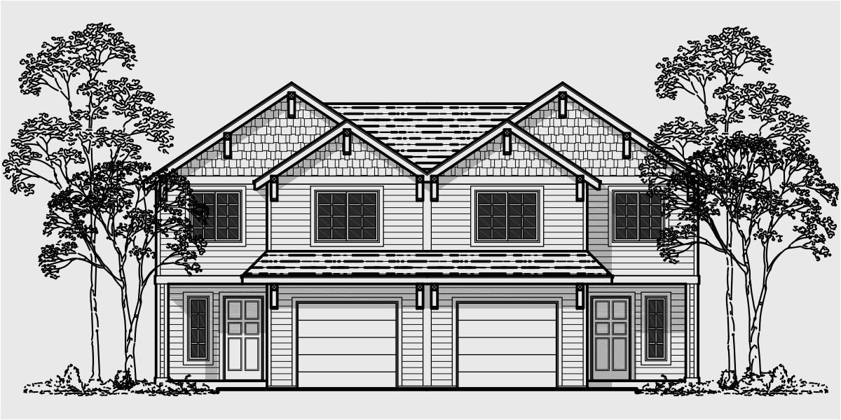 Duplex Home Plans with Garage Duplex House Plans 4 Bedroom townhouse Plans D 482