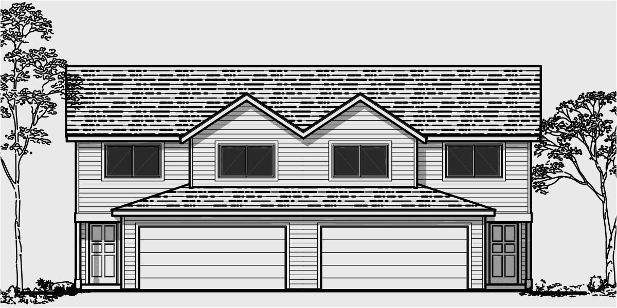 duplex house plans with 2 car garage