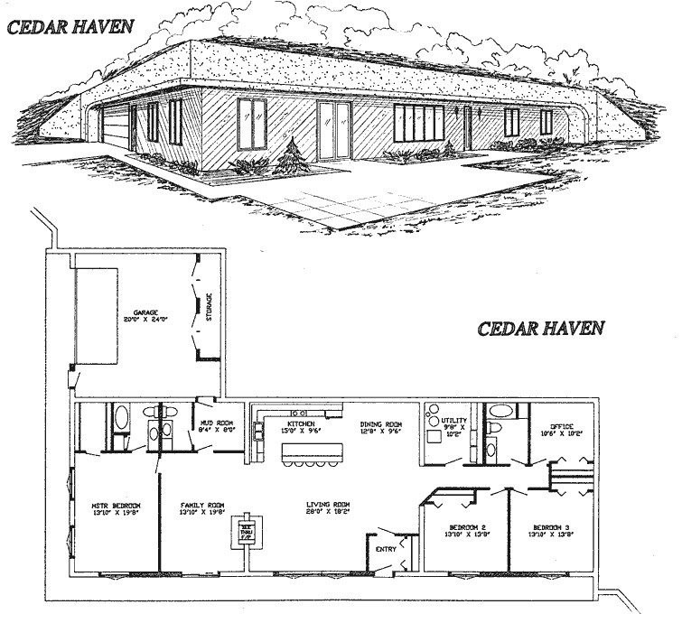 small earth berm home plans