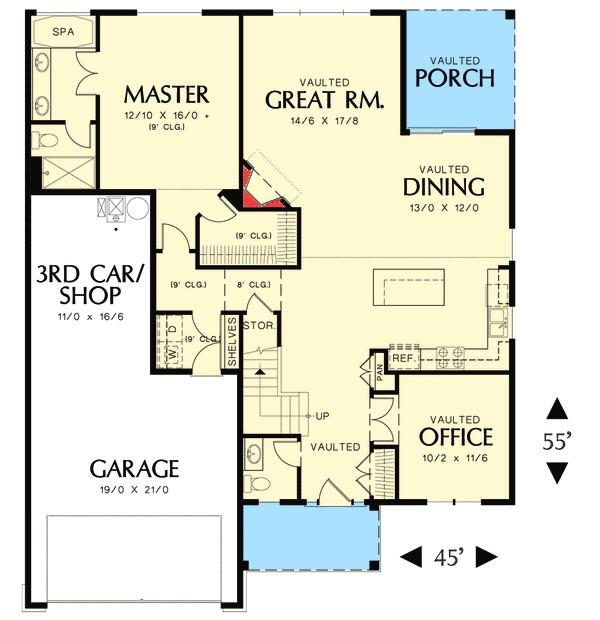 3 bedroom empty nester house plan 69573am