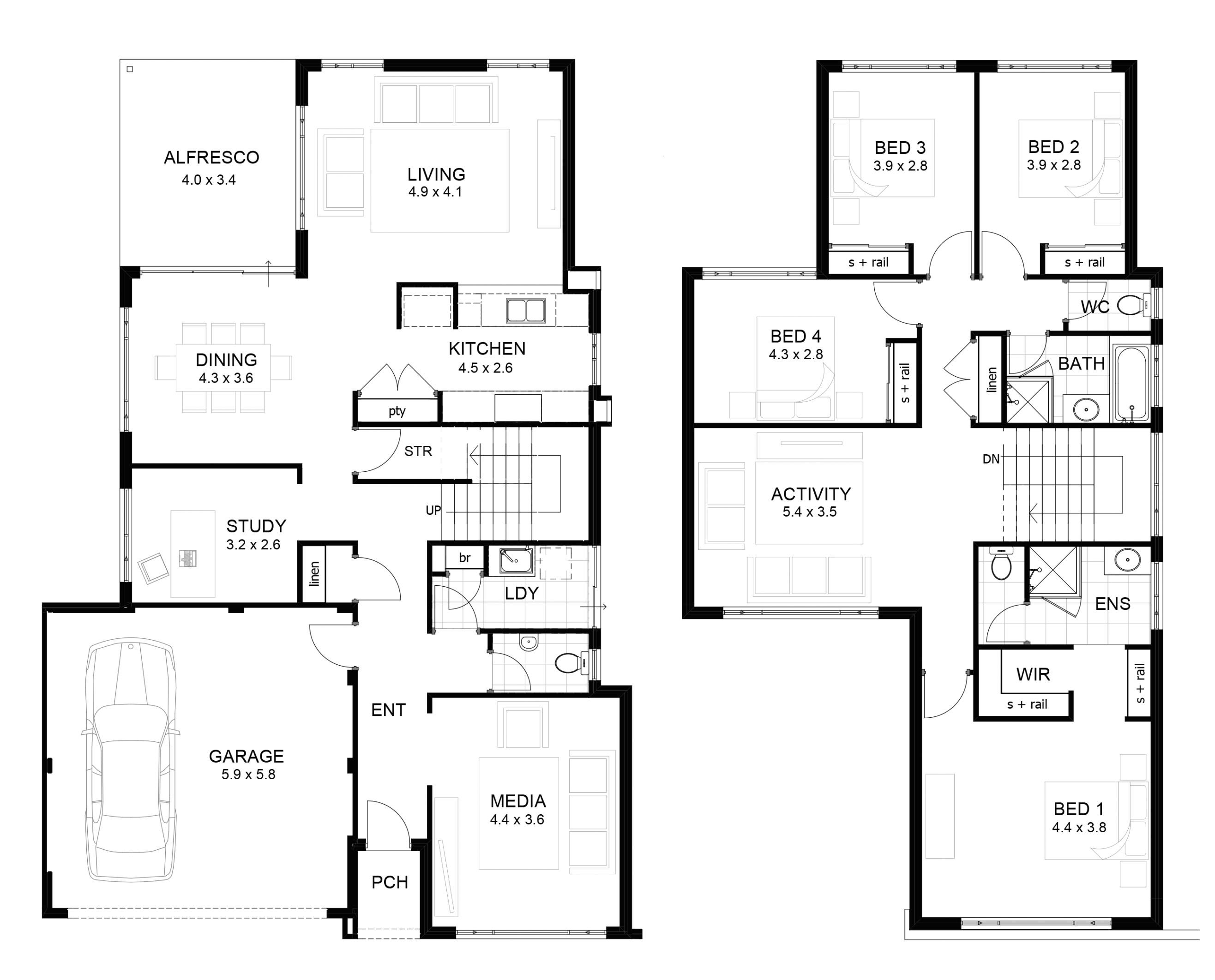 luxury 2 story home floor plans