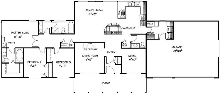 house plans ranch 3 bedroom