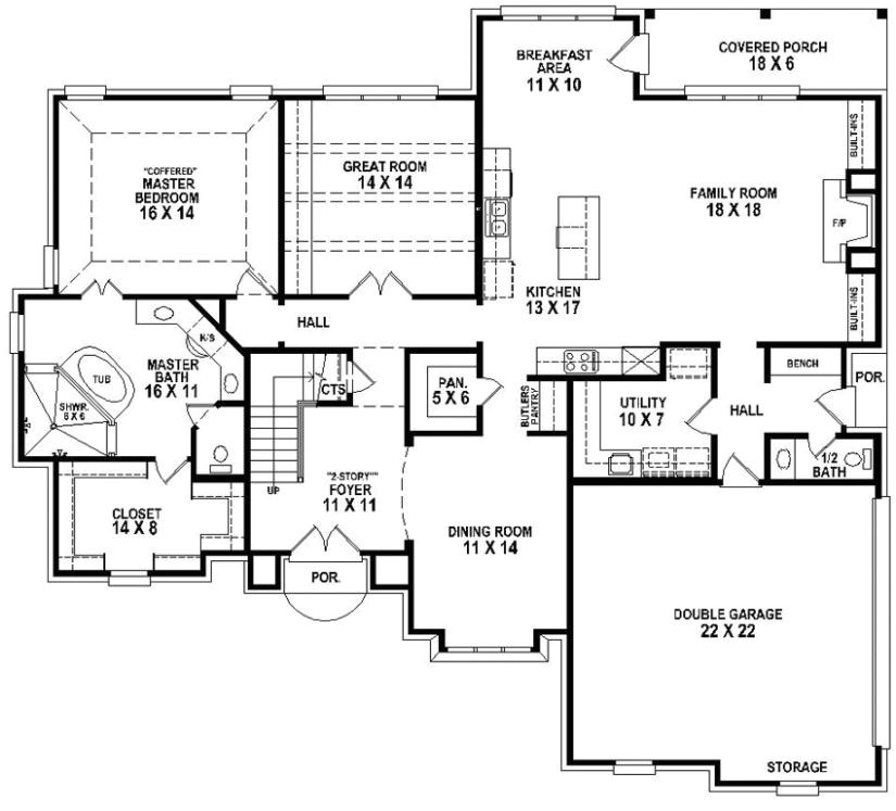 653906 beautiful 4 bedroom 3 5 bath house plan with views of the backyard