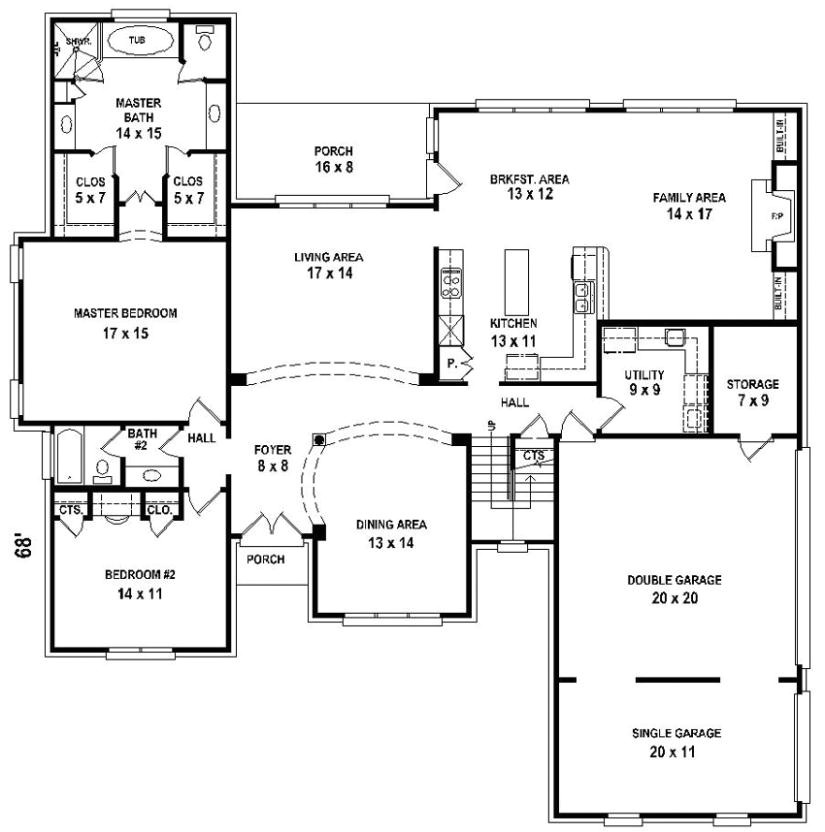 654206 5 bedroom 4 bath house plan
