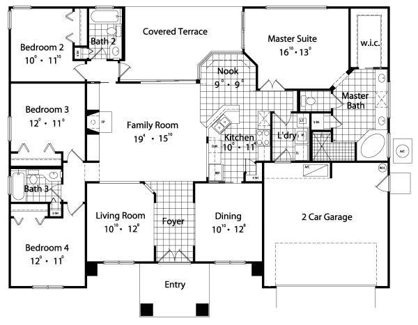 house floor plans 4 bedroom 2 bath