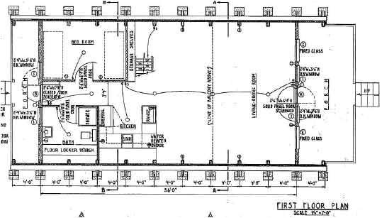 a frame house plan 36 feet high