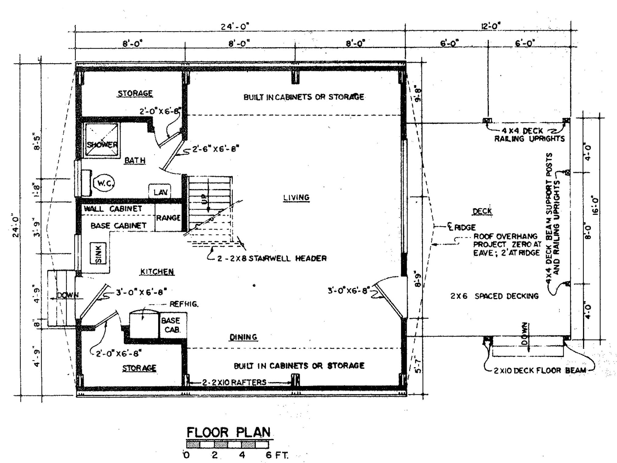 a frame house plan with deck 6003