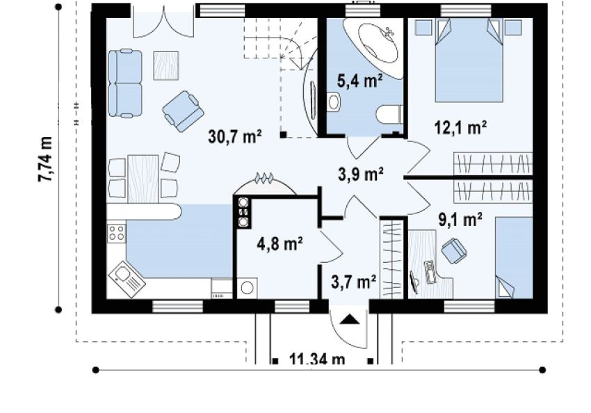 70 square meter house plans