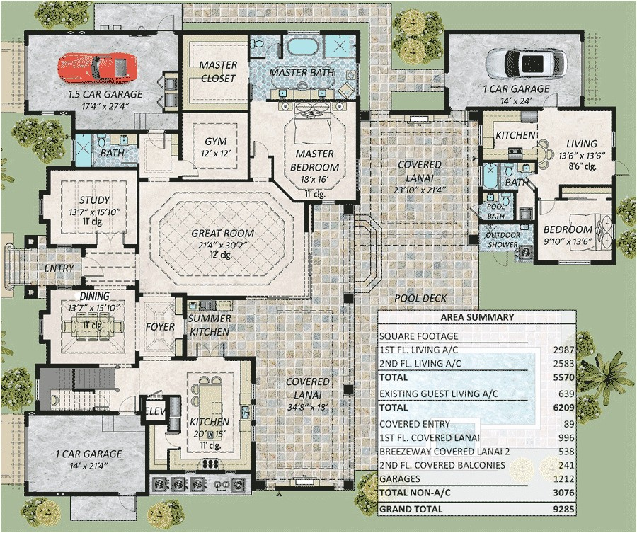 spacious florida house plan with two master suites 31851dn