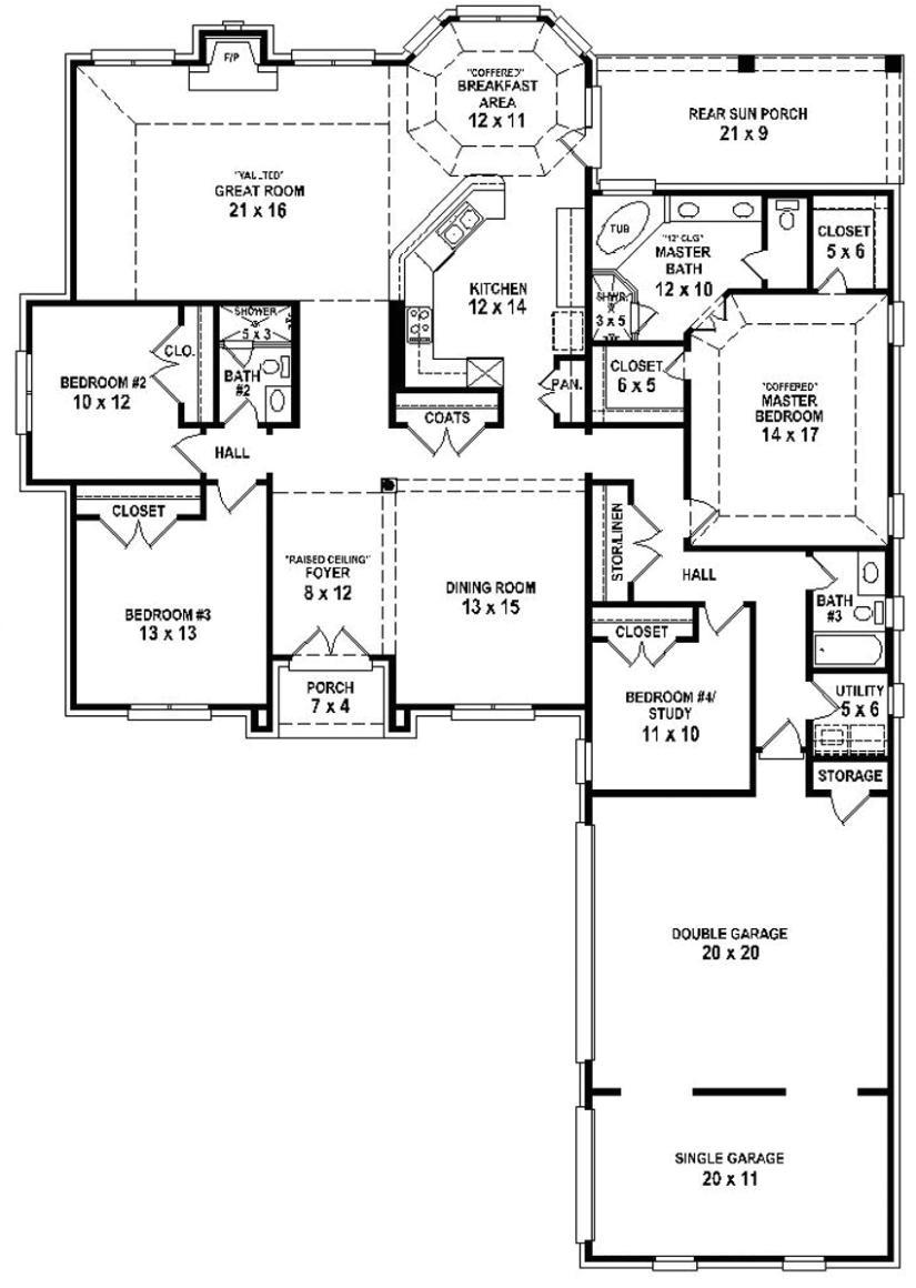 654254 4 bedroom 3 bath house plan