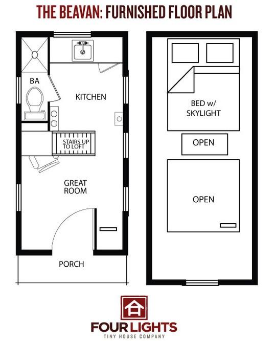 four lights tiny house plans