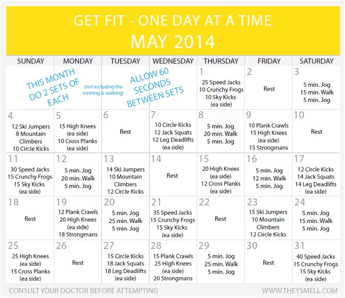 get fit 2014 daily beginner workout plan may