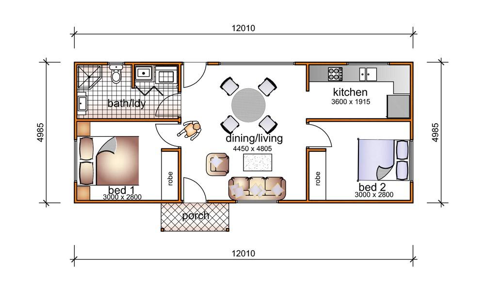 2 bedroom granny flat plans
