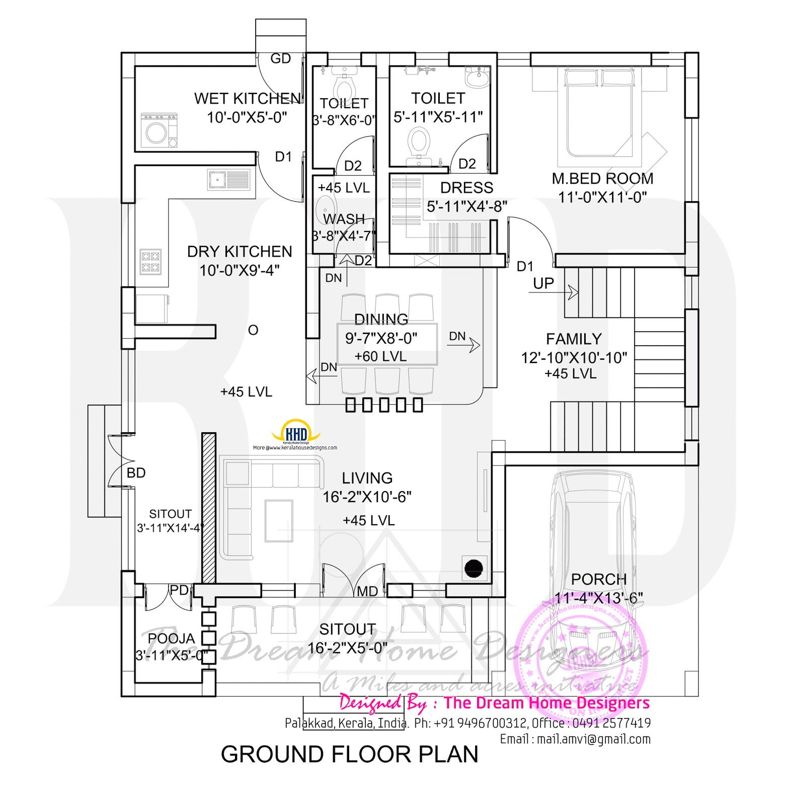 1700 sq feet 3d house elevation and plan