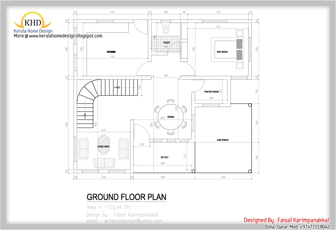 Ground Floor Plan for Home Home Plan and Elevation 1983 Sq Ft Kerala Home Design