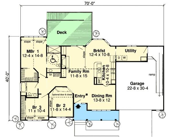 ranch house plans handicap accessible