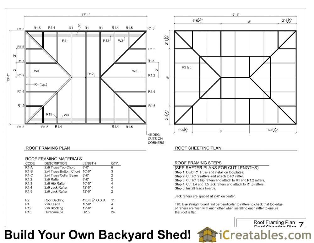 12x16 h hip shed plans