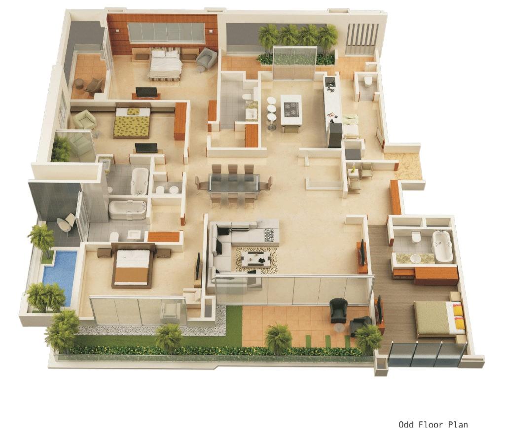 3d floor plan of a celeb mansion