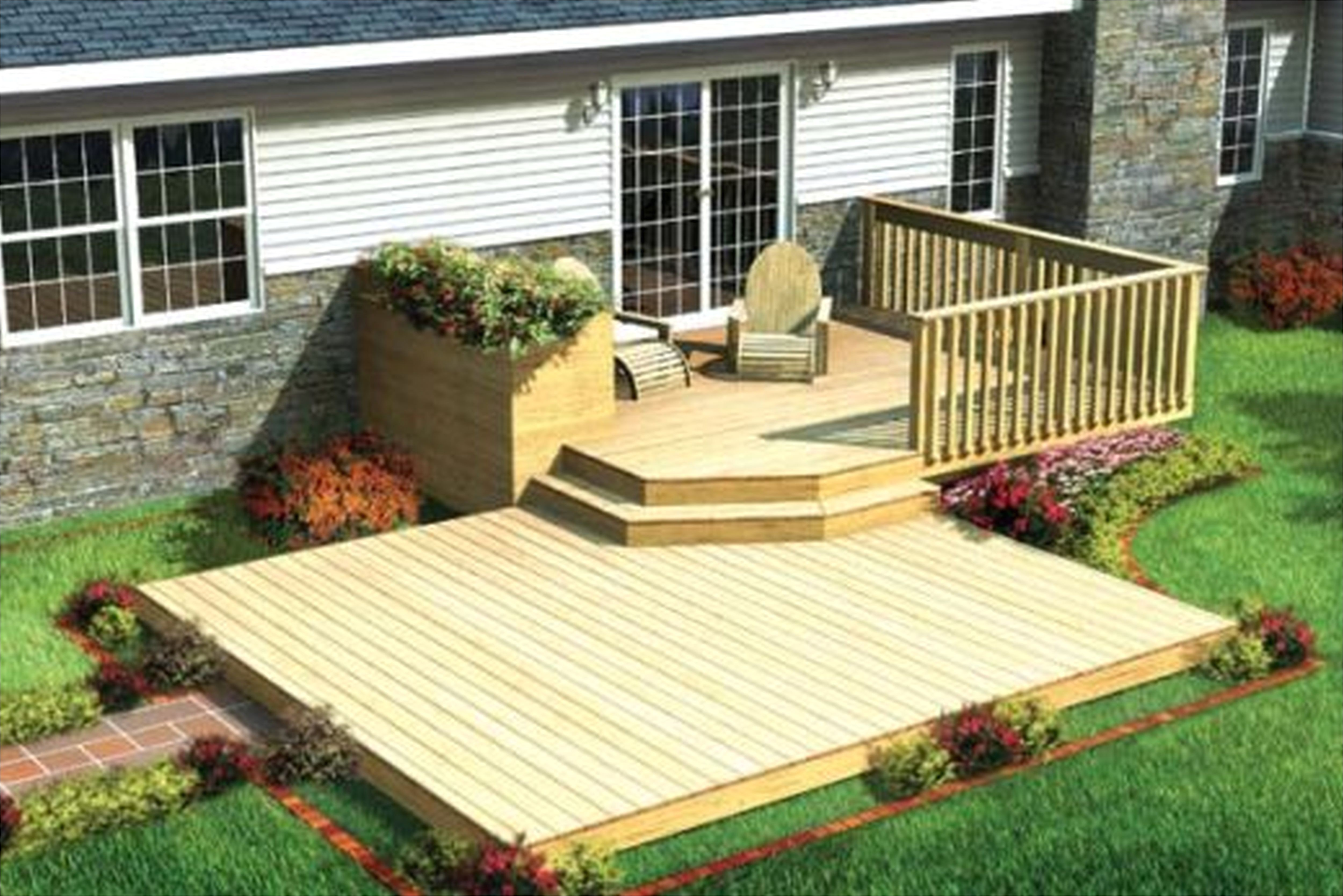 Home Depot Floating Deck Plans Deck Stunning Ground Level Deck Plans